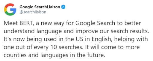 Print do tweet do Google sobre o novo algoritmo chamado BERT