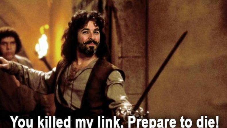 meme sobre link building. Na imagem, uma cena de piratas do caribe e o texto em inglês: você matou meu link building. prepare-se para morrer