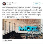 twitter do Peter Meyers sobre a atualização da MOZ