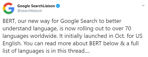 imagem da publicação no twitter falando sobre a atualização do Bert que agora está em português