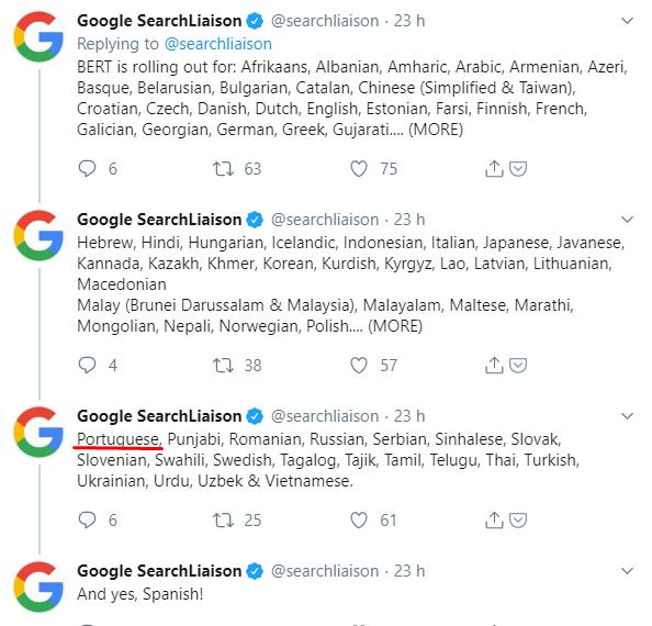 Continuidade da publicação do Search Liaison falando sobre a atualização do Bert. Em um dos posts, ele cita o termo em português
