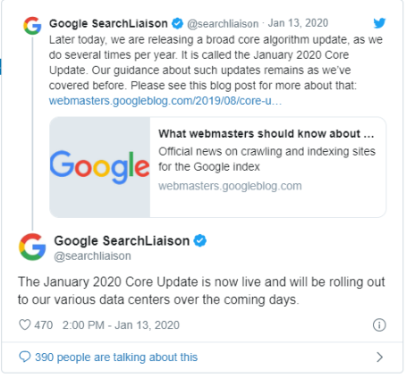 imagem do anúncio do Google sobre a atualização