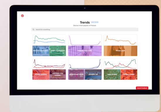 imagem da tela de de dashboard do pinterest trends