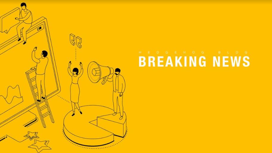 desenho em amarelo e preto de 4 pessoas trabalhando em tela gigante, sendo 3 operando e 1 com um megafone