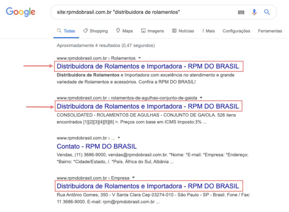 exemplo de uma página de resultados com resultados canibalizados