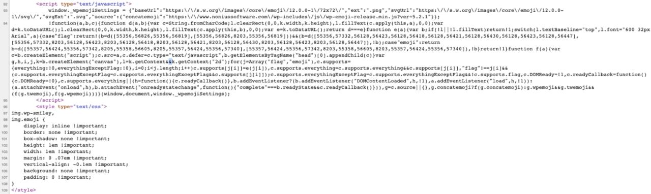 exemplo de código fonte com css e js inline