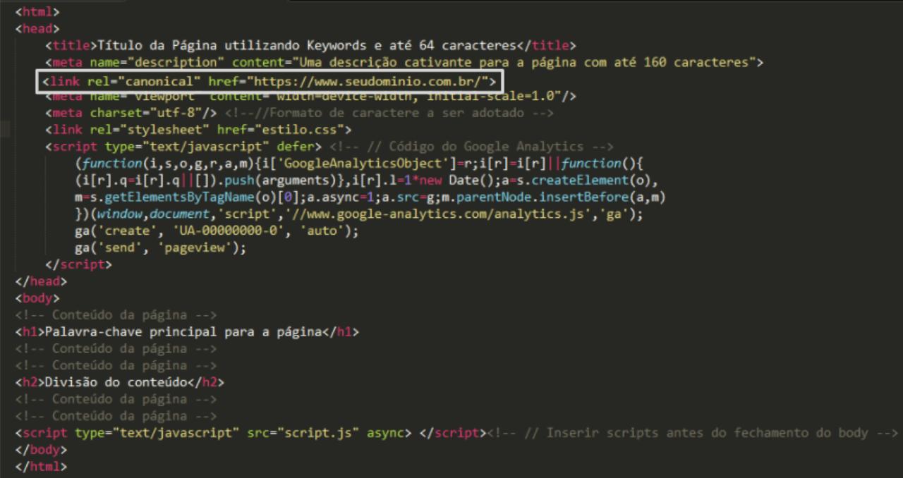 cabeçalho do html com ordenação correta das tags
