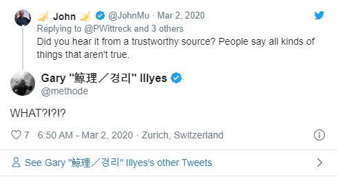 tweet com resposta de Garry Illyes para John Mu sobre posicionamento de logos para SEO
