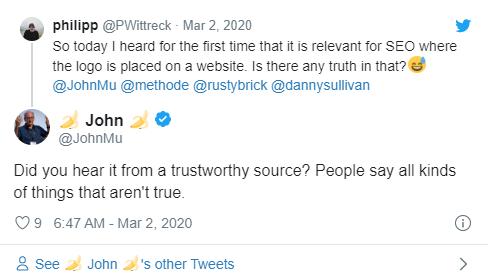 tweet de john mu em resposta a philipp wittreck sobre posicionamento de logo para SEO