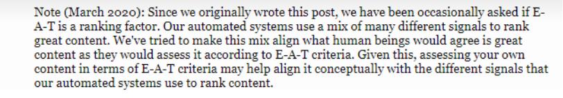 nota de março de 2020 falando sobre o E.A.T ser um fator de rankeamento