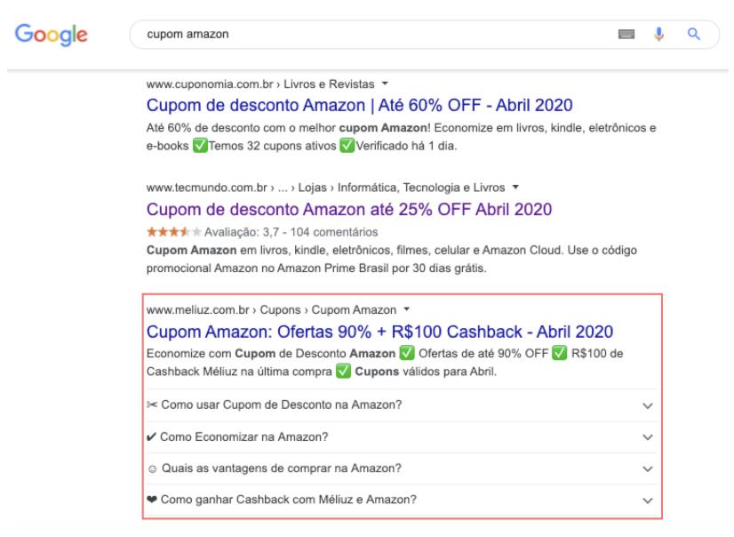 imagem de uma aba de pesquisas da google sobre cupons de desconto no site da amazon