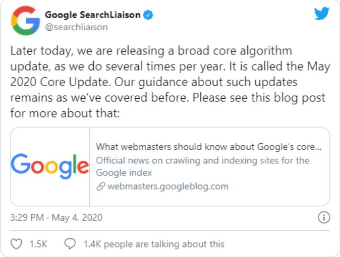 imagem de um tweet do Google anunciando novas atualizações