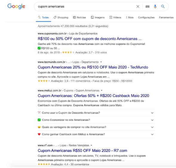 imagem de pesquisa de primeiros resultados para pesquisa de cupom americanas
