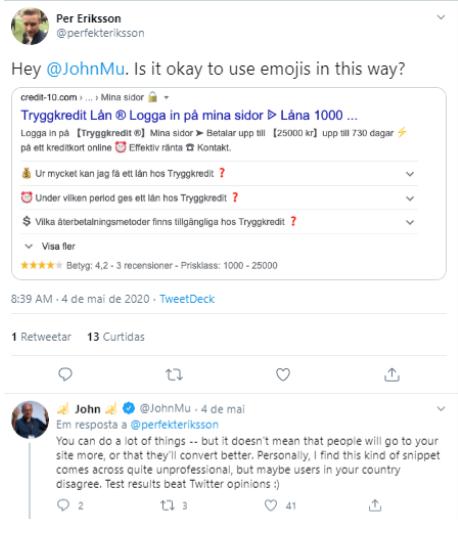 imagem de John Mueller respondendo tweet de Per Eriksson
