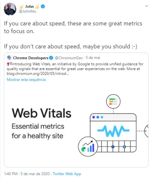 imagem de um tweet de john mueller falando sobre métricas e velocidade de pesquisa
