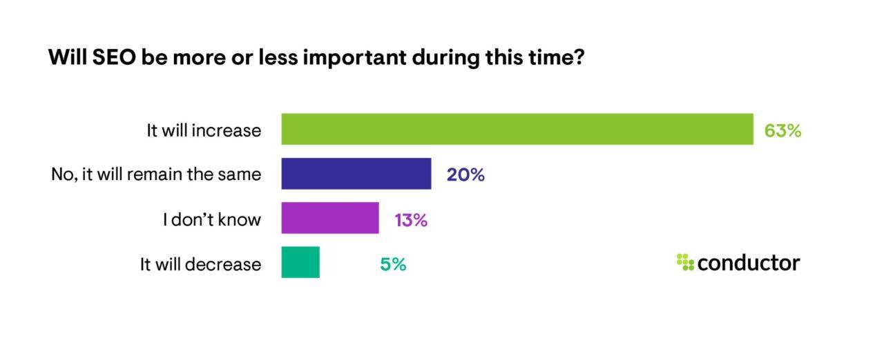 gráfico mostrando que 63% dos empresários acreditam que o SEO será ainda mais importante