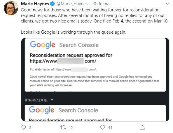 imagem de um tweet de marie haynes falando sobre reconsideration request
