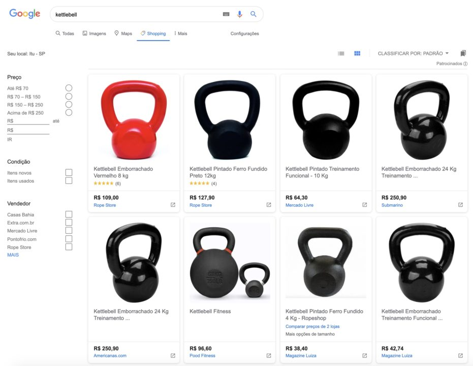 resultados de pesquisa no google shopping para kettlebell