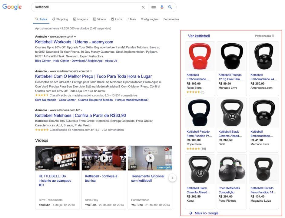 resultado de pesquisa para kettlebell com google shopping em destaque a direita