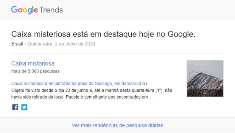 imagem de resultado de pesquisa no Google sobre uma caixa preta misteriosa