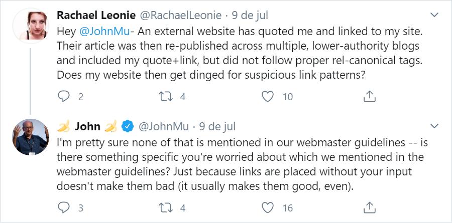 imagem de john mu respondendo à tweet sobre links