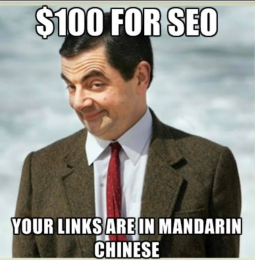 $100 for SEO your links are in mandarin chinese