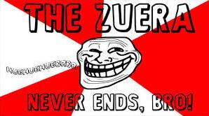 meme em cores vermelhas e brancas escrito: the zuera never ends