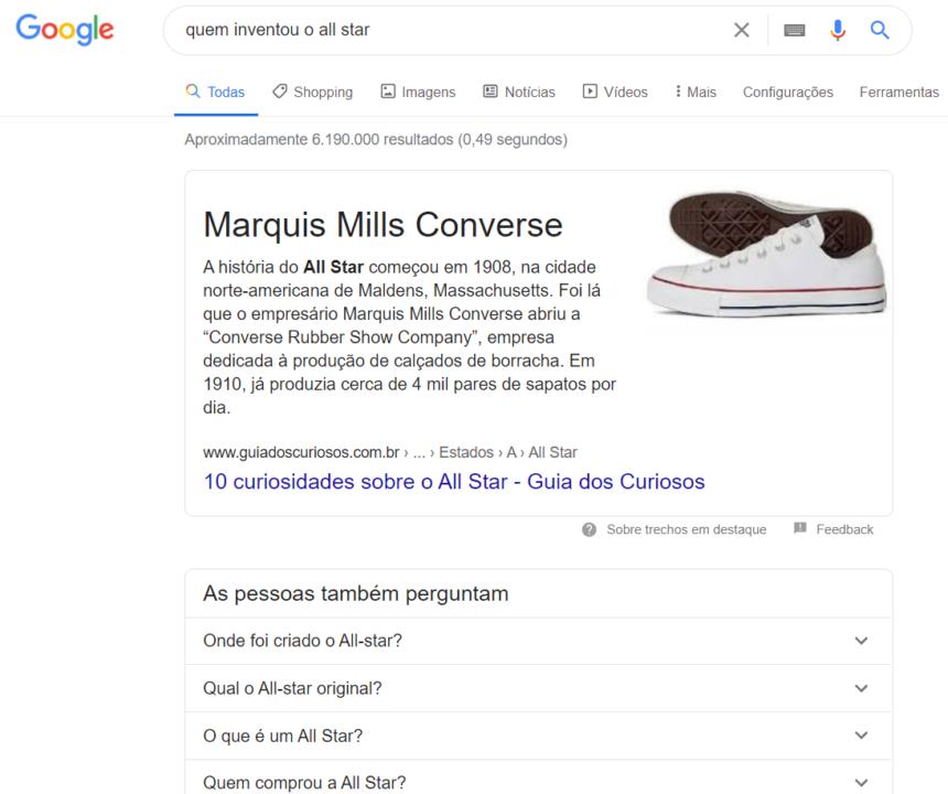"""imagem com a serp do google com a busca """"quem inventou o all star"""""""