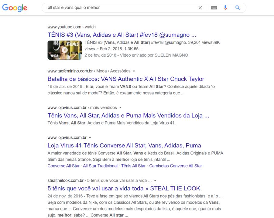 serp do google com a busca investigacional all star vs vans
