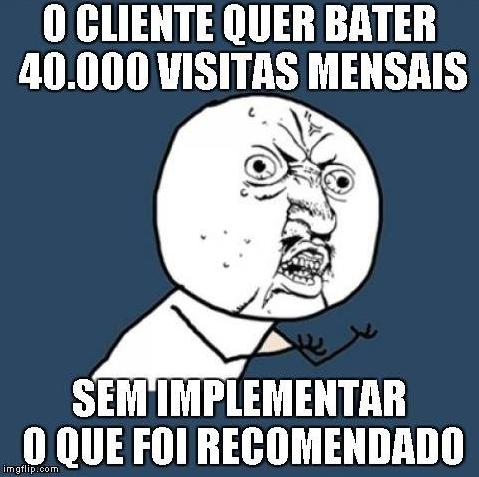 o cliente quer bater 40.000 visitas mensais sem implementar o que foi recomendado