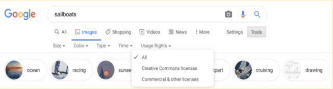 imagem da serp em desktop com opção de filtro de licença à mostra