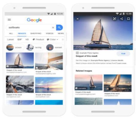 imagem de serp em mobile com pesquisa sobre veleiros mostrando novo filtro de licença do google