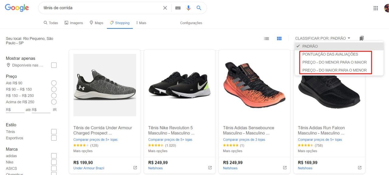 print da tela do google chopping sobre especificação do produto