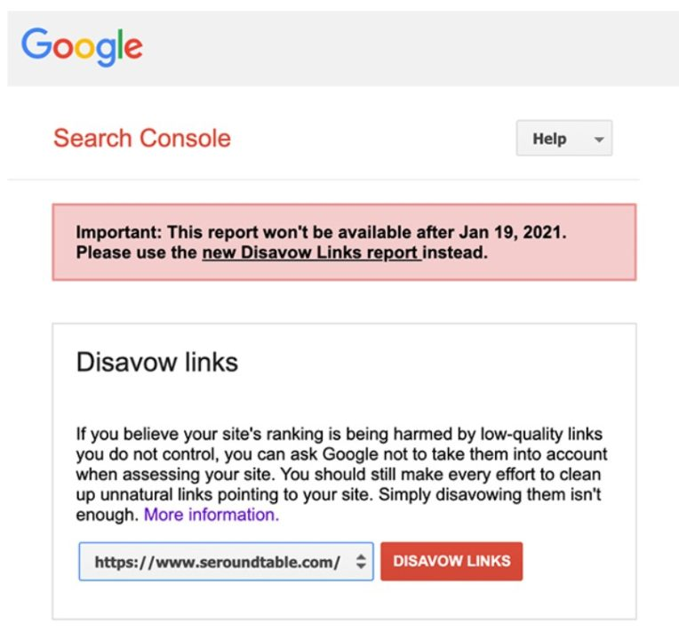 imagem da ferramenta do google disavow