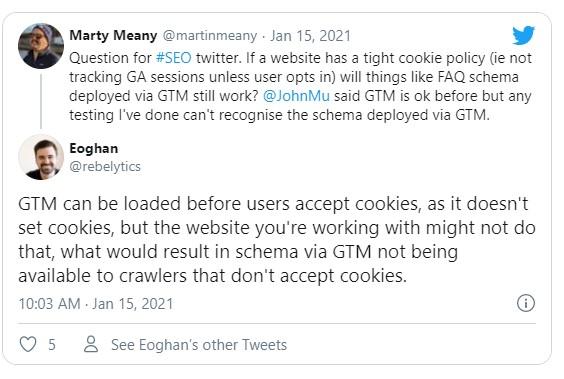 print da discussão sobre google tag manager