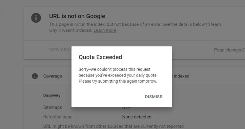 print da tela do search console mostrando que a cota para indexação foi excedda