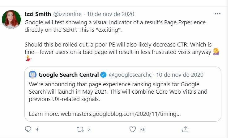 imagem de tweet da izzi questionando sobre o page experience