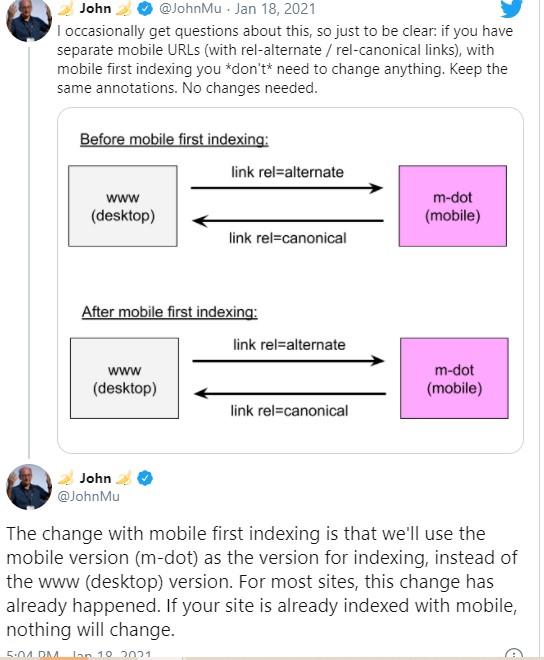 print de twitter do john mu explicando sobre indexacao mobile