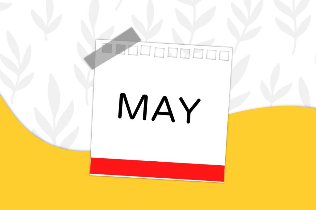 arte destaque com etiqueta indicando o mês de maio