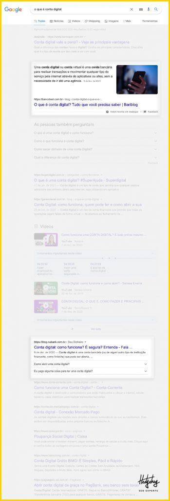 Resultados de buscas no Google sobre o que é conta digital